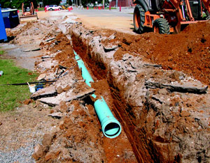 "HU crews installed a new 12"" water pipe in 2006 to correct water pressure problems in the area around Hartselle High School."